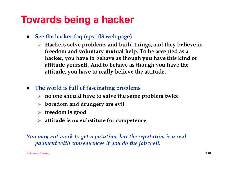 Towards being a hacker