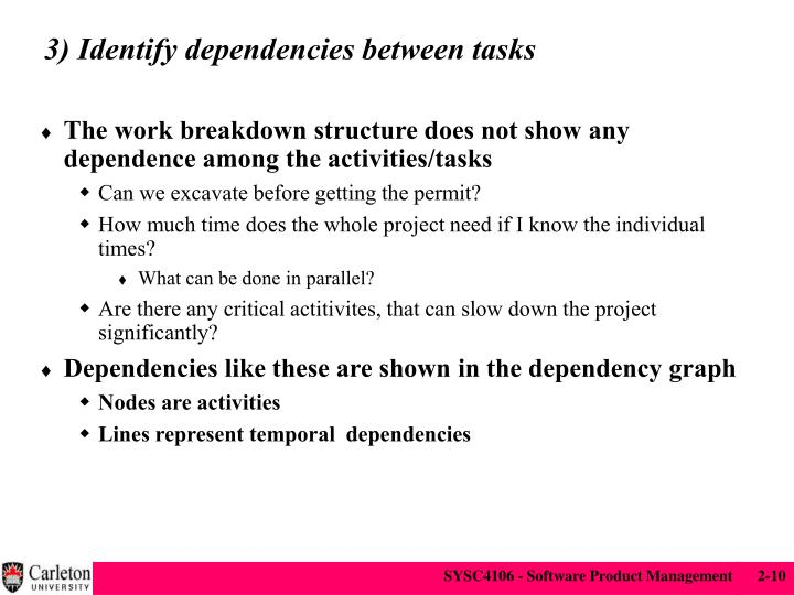 3) Identify dependencies between tasks
