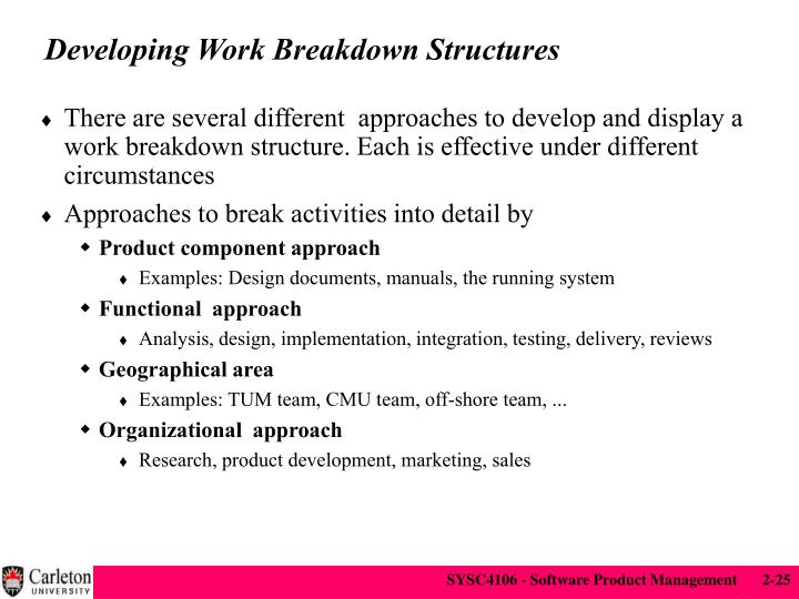 Developing Work Breakdown Structures