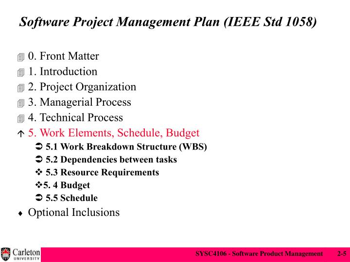 Software Project Management Plan (IEEE Std 1058)