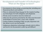 development and transfer of technologies what are the things we know