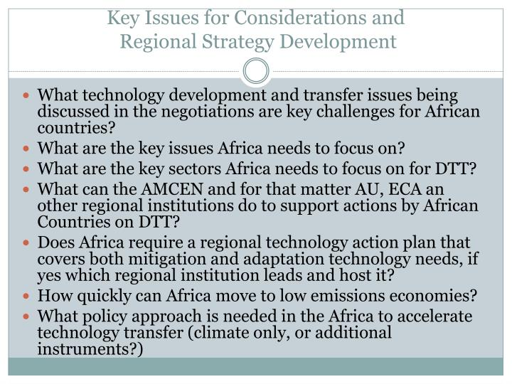 Key Issues for Considerations and