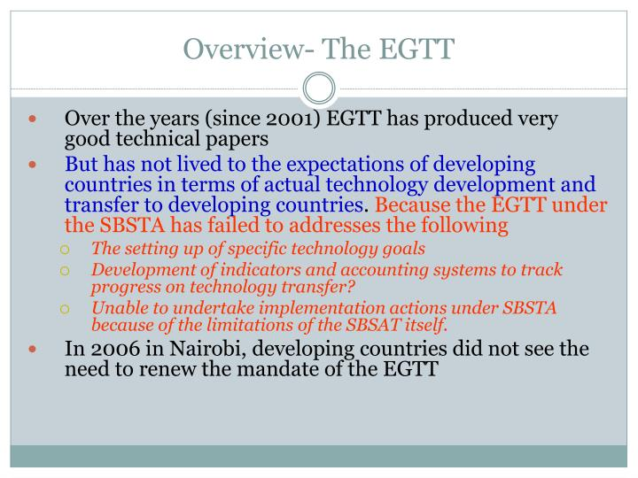 Overview- The EGTT