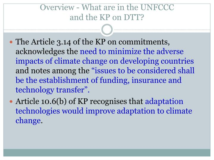 Overview - What are in the UNFCCC