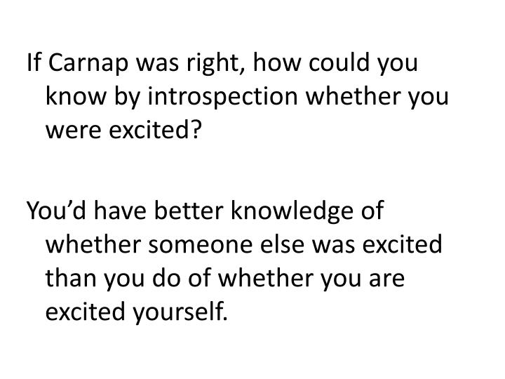If Carnap was right, how could you know by introspection whether you were excited?