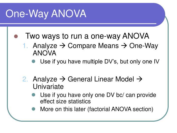 One-Way ANOVA