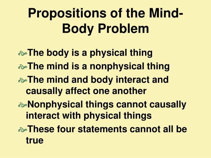 Propositions of the Mind-Body Problem