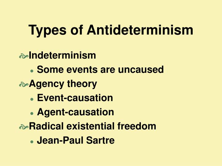 Types of Antideterminism