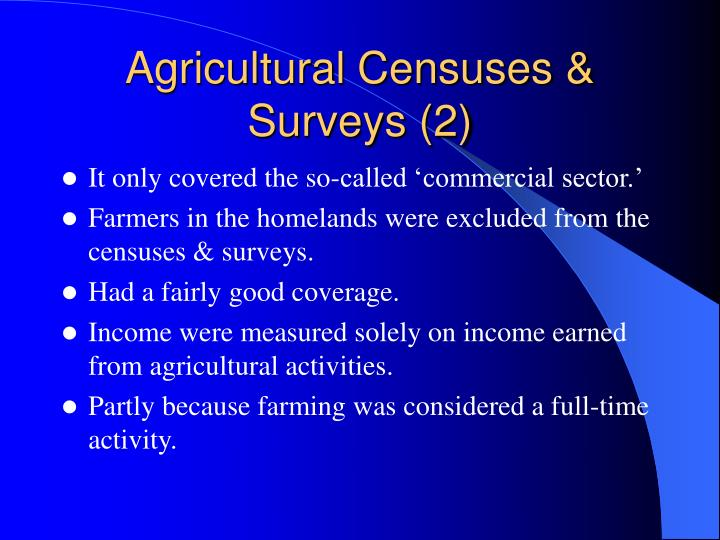Agricultural Censuses & Surveys (2)