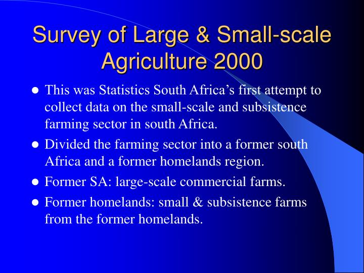Survey of Large & Small-scale Agriculture 2000