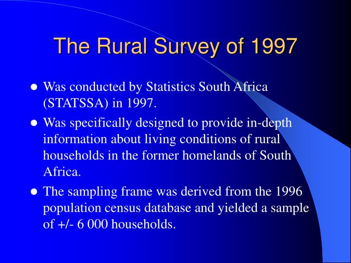 The Rural Survey of 1997