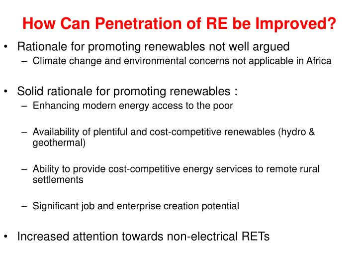 How Can Penetration of RE be Improved?
