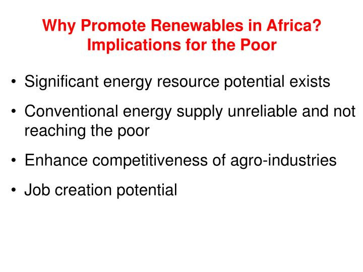 Why Promote Renewables in Africa? Implications for the Poor