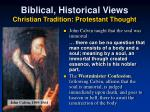 biblical historical views christian tradition protestant thought