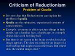 criticism of reductionism problem of qualia