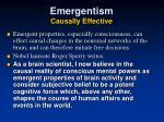 emergentism causally effective