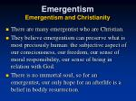 emergentism emergentism and christianity
