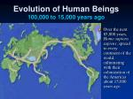 evolution of human beings 100 000 to 15 000 years ago