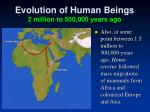 evolution of human beings 2 million to 500 000 years ago4