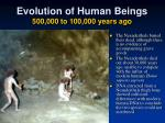 evolution of human beings 500 000 to 100 000 years ago3