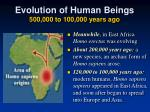 evolution of human beings 500 000 to 100 000 years ago4