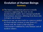evolution of human beings summary