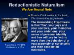 reductionistic naturalism we are neural nets