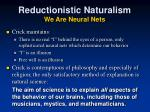 reductionistic naturalism we are neural nets1