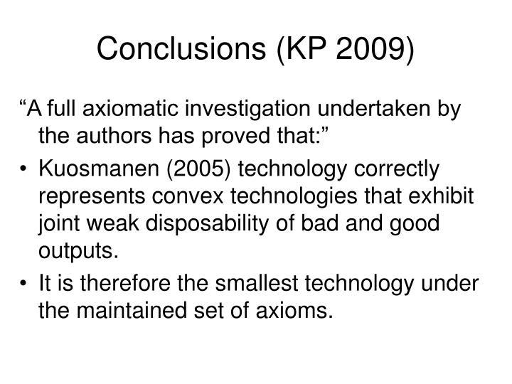 Conclusions (KP 2009)