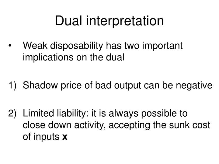 Dual interpretation