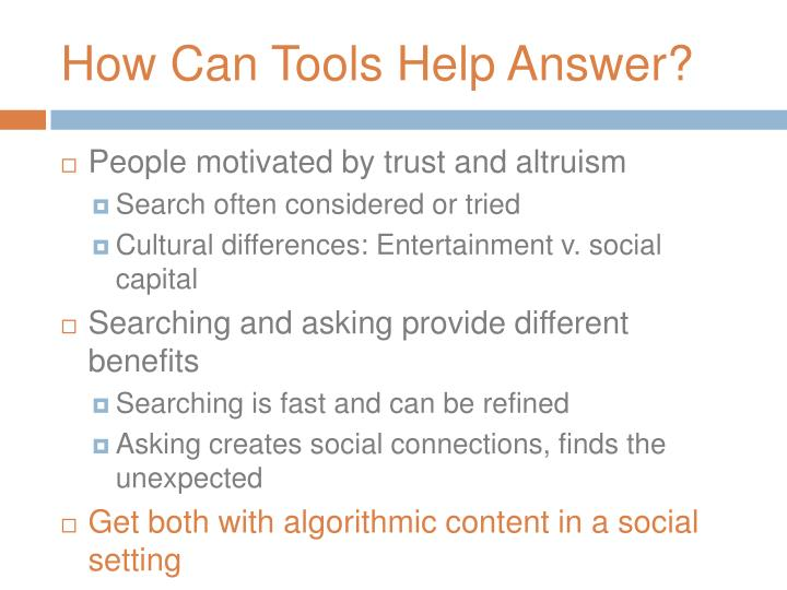 How Can Tools Help Answer?