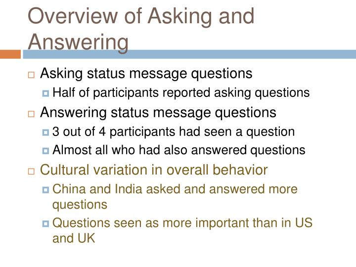 Overview of Asking and Answering