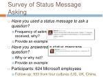 survey of status message asking