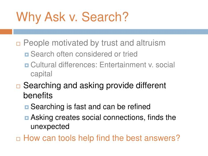 Why Ask v. Search?