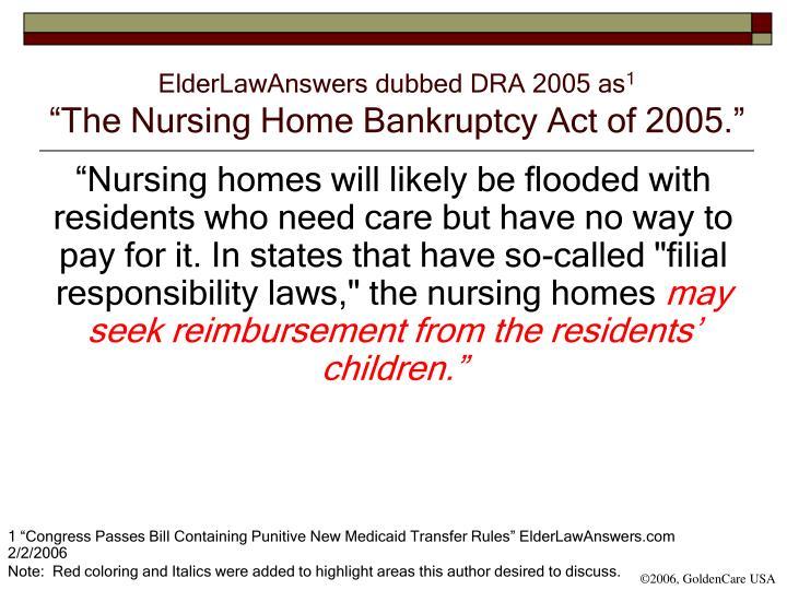 ElderLawAnswers dubbed DRA 2005 as