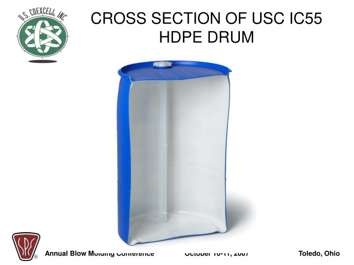 CROSS SECTION OF USC IC55 HDPE DRUM