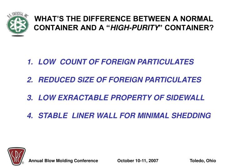 """WHAT'S THE DIFFERENCE BETWEEN A NORMAL CONTAINER AND A """""""