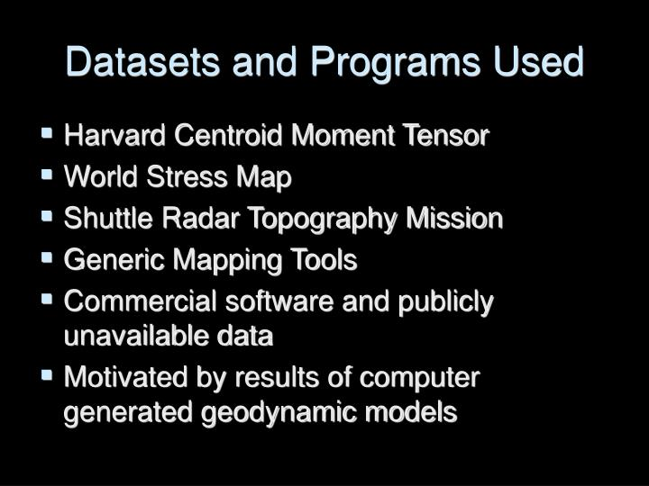Datasets and Programs Used