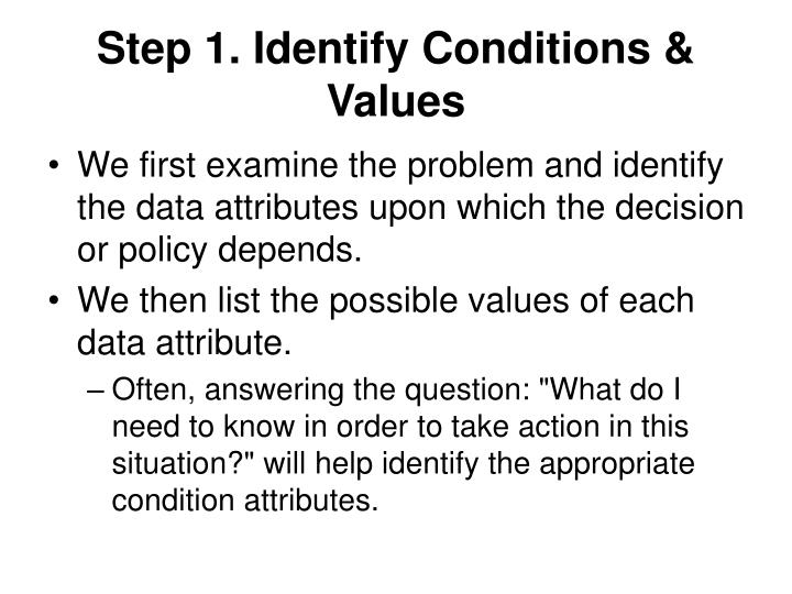 Step 1. Identify Conditions & Values