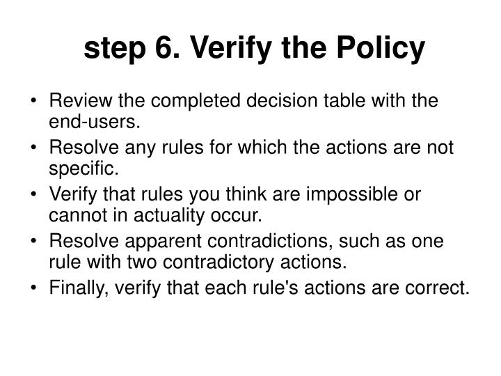 step 6. Verify the Policy