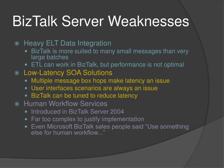 BizTalk Server Weaknesses