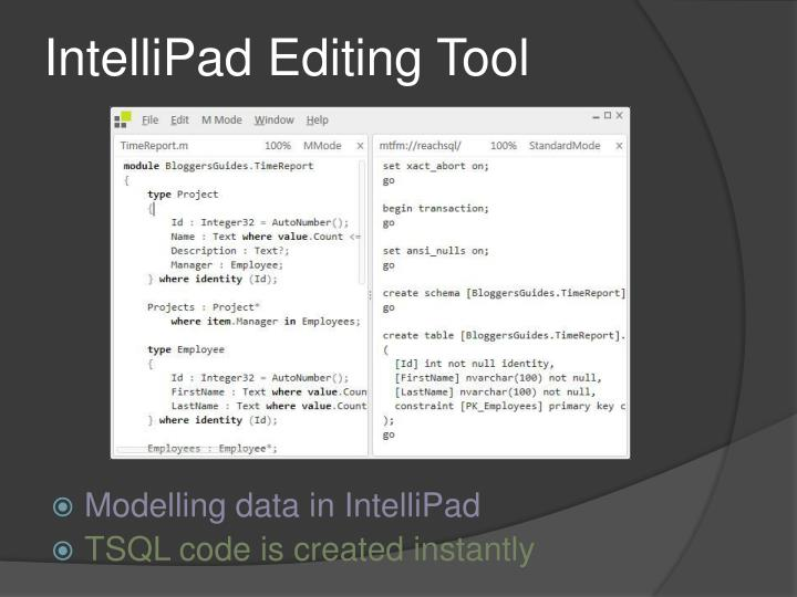 IntelliPad Editing Tool