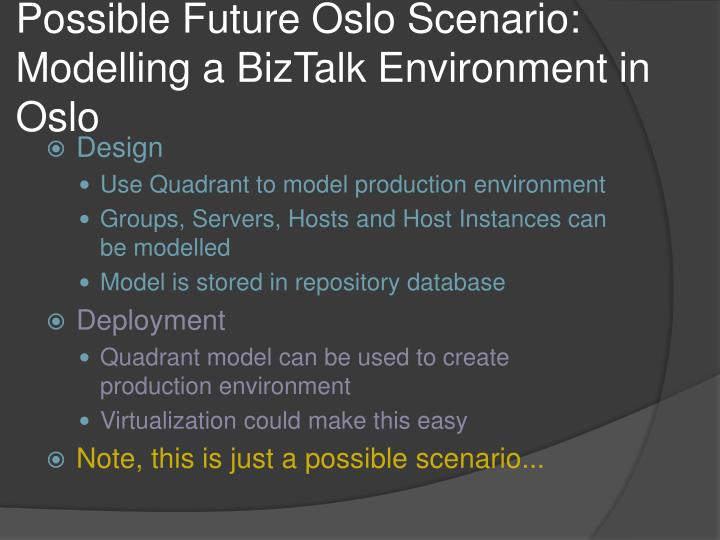 Possible Future Oslo Scenario: Modelling a BizTalk Environment in Oslo