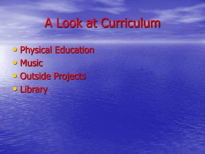A Look at Curriculum