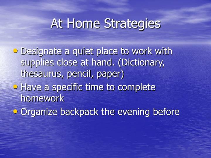 At Home Strategies