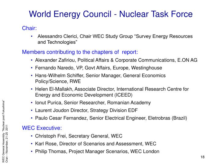 World Energy Council - Nuclear Task Force