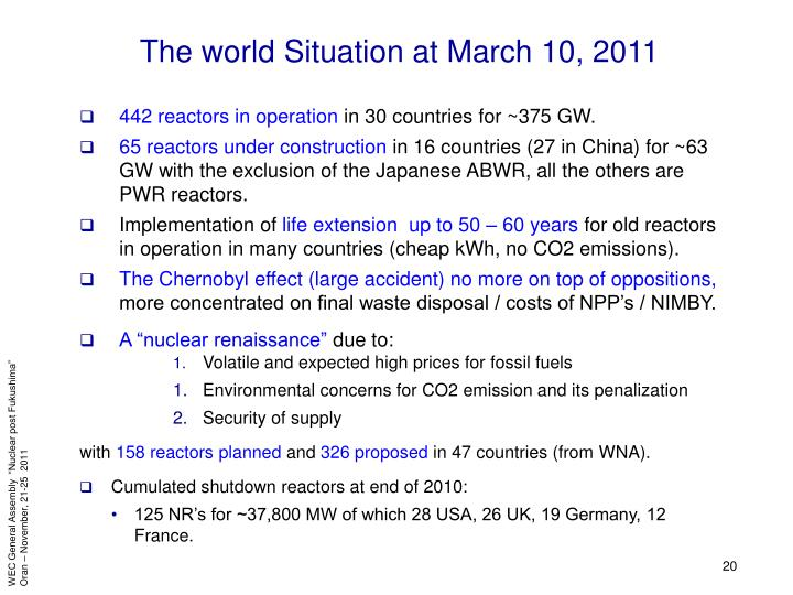 The world Situation at March 10, 2011