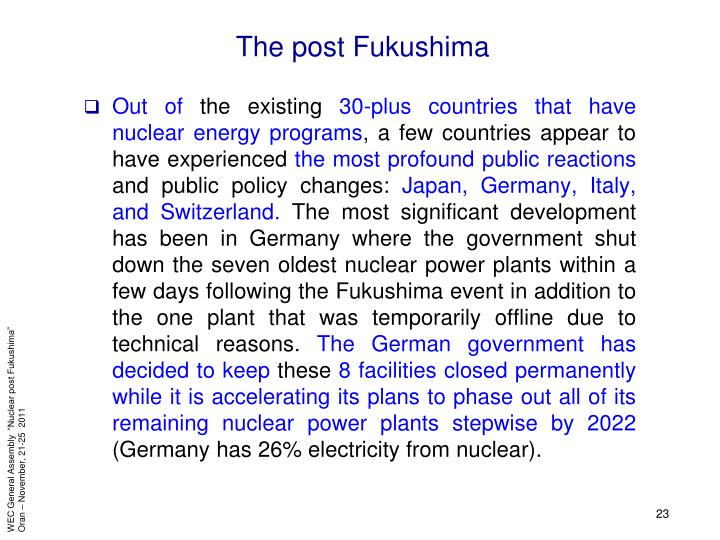 The post Fukushima