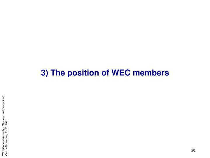 3) The position of WEC members
