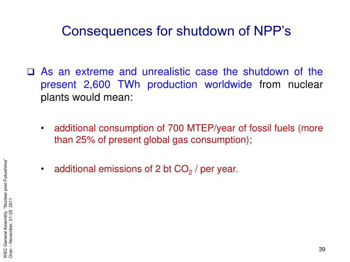 Consequences for shutdown of NPP's